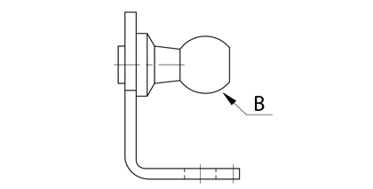 Technical drawing - Brackets with ball stud