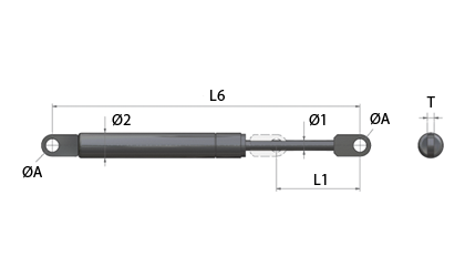 Technical drawing - BE gas springs